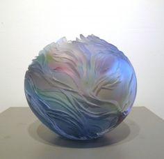 Round Vessel - Blue, Amtheyst & Emerald by Lois Scott, 8 x 9, Cold Worked Blown Glass