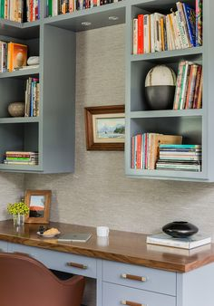 Falmouth Residence   Elms Interior Design   Home Office With Custom Muted  Blue Built Ins