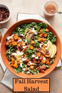Embrace all of the autumn vibes with this tasty Fall Harvest Salad. Made with sweet potato, chicken breast, cranberries, and pecans, it's a delicious meal sure to leave you full and satisfied for hours. Healthy Salad Recipes, Whole Food Recipes, Fall Recipes, Healthy Eats, Corn Dishes, Fall Dishes, Side Dishes, Cranberry Quinoa Salad, Harvest Salad