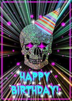 birthday gift ideas for him Happy Birthday Skulls, Happy Birthday Halloween, Happy Birthday Emoji, Happy Birthday Celebration, Happy Birthday Quotes, Birthday Love, Happy Birthday Greetings, Happy Birthday Tattoo, Funny Birthday