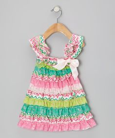 Take a look at this Pink & Teal Zigzag Ruffle Dress - Infant, Toddler & Girls on zulily today!