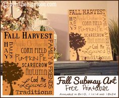 Fall Subway Art FREE Printable!  Available in 8x10, 11x14 and 18x24.