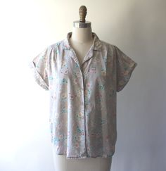 vintage blouse butterfly pattern capped sleeves by GazeboTree