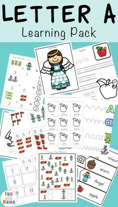 Free printable letter a activities, worksheets, crafts and learning pack. via @funwithmama