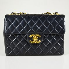 Chanel Black Quilted Lambskin Leather Vintage Jumbo Single Flap Bag