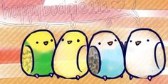 """And a linnie snuck in, too (can you spot her?) Just some quick pencil budgie doodles. Except for the colorful one, that's in pen. I'm working on a consistent style for bird """"cartoonizations."""" These..."""
