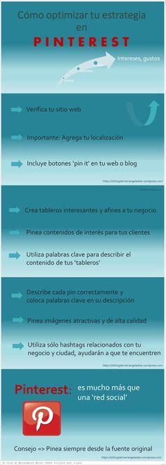 Cómo optimizar tu estrategia en Pinterest #infografia #infographic #socialmedia
