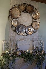 Tarnished Silver Platter Wreath Tarnished Silver, Christmas Wreaths, Christmas Crafts, Christmas Decorations, Christmas Cup, Holiday Decor, Christmas Mantels, Country Christmas, Seasonal Decor