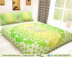 Buy screen printed handmade queen size hiipie boho duvet quilt cover in green and yellow with ombre print. This bohemian doona cover set to break the monotony of your boring interiors. Grey Bedding, Dorm Bedding, Luxury Bedding, Boho Duvet Cover, Mandala Duvet Cover, Modern Duvet Covers, Green Duvet Covers, Best Bedding Sets, King Comforter Sets