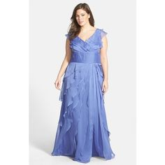 Adrianna Papell Iridescent Chiffon Petal Gown (145 NZD) ❤ liked on Polyvore featuring plus size women's fashion, plus size clothing, plus size dresses, plus size gowns, periwinkle, plus size, blue chiffon maxi skirt, adrianna papell evening dresses, long pleated skirt and chiffon maxi skirt