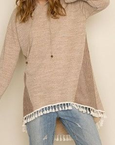 Hooded & Fringed Top