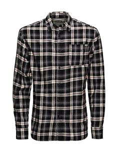 JACK & JONES VINTAGE CLOTHING - Hemd von VINTAGE - Slim fit - Standardkragen - Knopfblende - Verstellbare Knopf-Manschetten - Gerundeter Schnitt - Aufgesetzte Tasche an der Brust - Markenlogo-Patch an der Tasche - Das Modell trägt Größe L und ist 187 cm groß 100% Baumwolle...