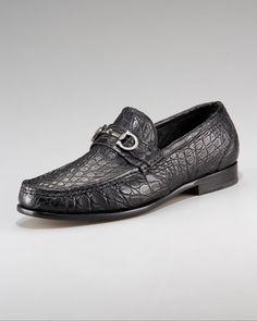 Crocodile Bit Loafer, Black by Salvatore Ferragamo at Bergdorf Goodman.