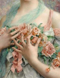 History Of Art Daily - Émile Vernon, Jeune fille en fleurs, detail,. Vernon, Renaissance Kunst, Rose Girl, Classical Art, Art Plastique, Beautiful Paintings, Oeuvre D'art, Art Inspo, Flowers