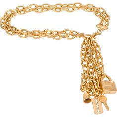 Moschino charm chain belt ($1,015) ❤ liked on Polyvore featuring accessories, belts, chain belts, key charm, moschino belt, key chain charms and moschino
