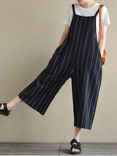 e24cb9d95f4 M-5XL Striped Wide Leg Jumpsuit - Banggood Mobile