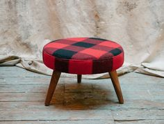 Revive Upholstery & Design- Red & Black Buffalo Plaid Ottoman