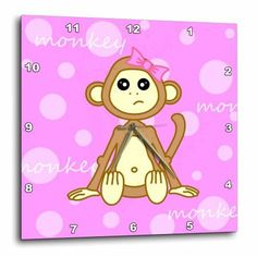 3dRose Pink Baby Monkey Girl, Wall Clock, 15 by 15-inch