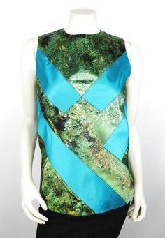 Proenza Schouler Blue Green Patchwork Tree Scene Printed Top Size 4 NEW $1695 #ProenzaSchouler #TankCami #EveningOccasion