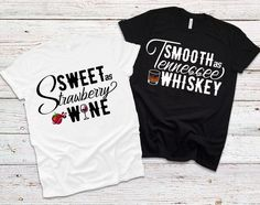 Couple T Shirt Design, Smooth As Tennessee Whiskey, Funny Couple Shirts, Strawberry Wine, Sublimation Paper, Stamp Making, Personalized Christmas Ornaments, T Shirt Diy