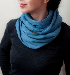 Blue Cotton Infinity Scarf Loop Scarf Ecofriendly Circle Scarf Eternity Scarf Long Scarves Eco Fashion Unisex Men Women Fashion Accessories by EveLineTrends, $26.00