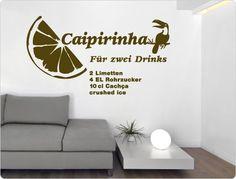 "Wall Decal Cocktail Recipe 11407 ""Caipirinha"" W. Wall Stickers Animals, Food Stickers, Kitchen Wall Stickers, Cocktails, Cocktail Recipes, Normal Wallpaper, Wall Tattoo, Bar Areas, Nursery Wall Decals"