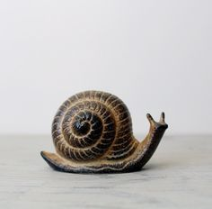 Vintage Ceramic Snail - Ceramic Garden Decor Snail Figurine by Suite22 on Etsy
