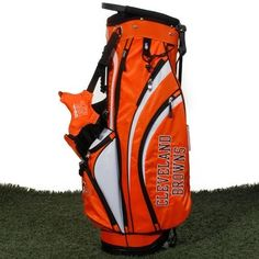 NFL Cleveland Browns Wilson Carry Golf Bag (9 x 8-Inch) by Wilson. $199.95. Double strap with 4 attachment points for extra comfort. 7 total pockets to hold all gear; 1 full length side clothing pocket, 1 large side accessory pocket, 1 side valuable pocket, 2 side pockets, 1 front ball/accessories pocket, and 1 large bottom front beverage pocket. Large side ranger finder pocket, towel/glove holder, umbrella holder and a rain/travel hood cap off this awesome NFL Bag. Pre...