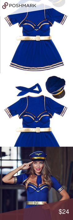 Female Pilot Costume/Outfit 5 pieces. Hat, belt, necktie, one piece dress & shoulder cover up. Soooooo cute! Great for Halloween!! Adore Me Other