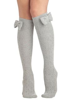 Baking Date Socks in Pepper // Add a dash of spice to your night with these tall grey socks! The heathered grey knit and big bow of this over-the-knee pair peeks playfully from beneath your short shift dress as you show your sweetie how to fold in flour. Keep things both sweet and savory with these warm, winsome tights!