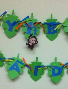 Jungle Safari Monkey/Lion Birthday Banner by NiuDesigns on Etsy, $24.00