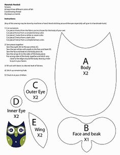 Simple Owl Pattern to use for sewing a pin cushion, pillow or applique. Other Owl patterns at link. Owl Patterns, Applique Patterns, Sewing Patterns, Owl Applique, Quilt Patterns, Fabric Crafts, Sewing Crafts, Sewing Projects, Owl Sewing