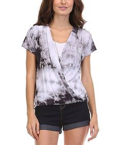 Another great find on #zulily! Charcoal Tie-Dye Surplice Top #zulilyfinds