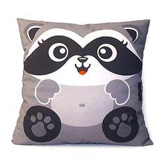 Decorative Pillow, Deluxe Pillow, Throw Pillow, Kawaii Toy Pillow - Happy Raccoon
