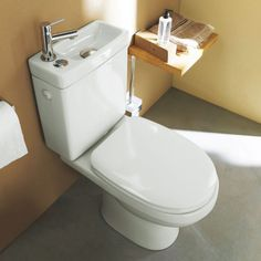 Cooke & Lewis Integrated Toilet WC and Hand Wash Basin Combo for Small Bathroom…. Cooke & Lewis Integrated Toilet WC and Hand Wash Basin Combo for Small Bathroom. So Cute, perfect for the water closet. Downstairs Cloakroom, Downstairs Toilet, Toilet Sink, Toilet Room, Over Toilet, Small Toilet, Bathroom Toilets, Laundry In Bathroom, Bathroom Basin