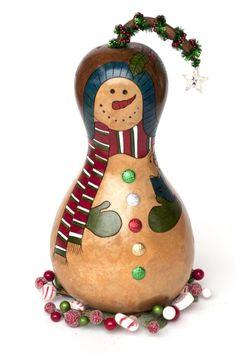 Christmas Snowman Gourd