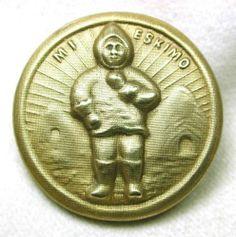 Antique Button Eskimo & Igloo Design 1 & 1/8 inch - Fun & Interesting!