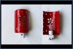 Tin can night light Diy And Crafts, Arts And Crafts, Reduce Reuse Recycle, Upcycle, Lampshades, Diy Painting, Glass Jars, Projects To Try, Crafty