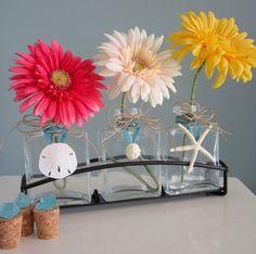 Beach Decor Seashell & Starfish Vase with gerber daisies