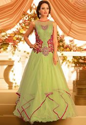 Admyrin Green Embroidered Gown Online Shopping Store