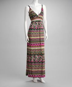 Take a look at this Fuchsia & Green Maxi Dress by Just Love on #zulily today!