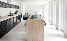 Long kitchen counters. The wood used for the island is pretty cool.
