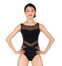Adult Chevron Mesh Tank Leotard