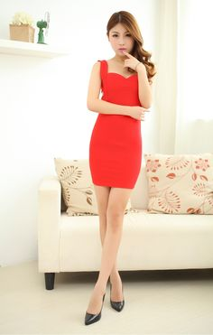 Women Fashion Dresses Sleeveless S Stylish Red Spaghetti Strap Solid Above Knee