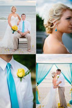 blue and yellow beach wedding
