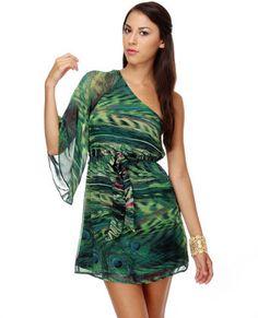Party of Peacocks One Shoulder Print Dress lulus.com $43.00