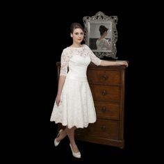 Timeless Chic MAE Tea Length Lace Vintage Style Wedding Dress With Sleeves In Ivory