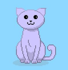 Purple cat pixel art