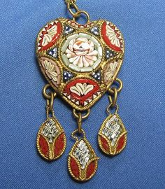 Vintage Micro Mosaic Pink Rose Blue Red Heart Dangle Goldtone Necklace