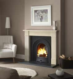 "Umbrian Hersham available in 54"" & 48"" Cast iron insert: Wandsworth Arch 16"" in Black Hearth Granite slabbed for s/f"